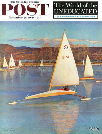 John Clymer Saturday Evening Post Sailboats 1959_11_28 | The Saturday Evening Post Graphic Art Covers 1931-1969