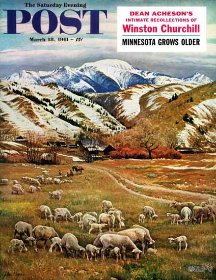 John Clymer Saturday Evening Post Sheep Ranch 1961_03_18 | The Saturday Evening Post Graphic Art Covers 1931-1969