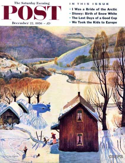 John Clymer Saturday Evening Post Snow on the Farm 1956_12_22 | The Saturday Evening Post Graphic Art Covers 1931-1969