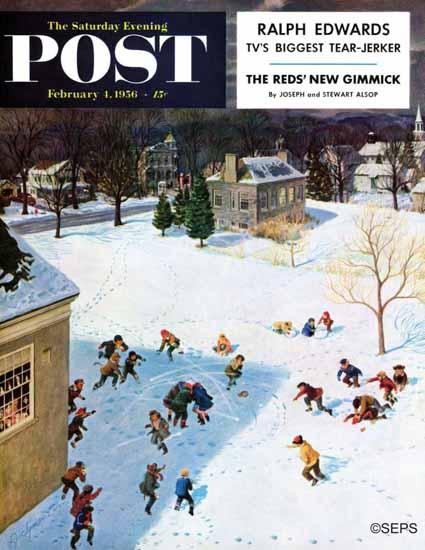 John Clymer Saturday Evening Post Snowball Recess 1956_02_04 | The Saturday Evening Post Graphic Art Covers 1931-1969