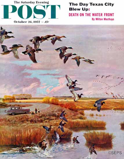 John Clymer Saturday Evening Post South for the Winter 1957_10_26 | The Saturday Evening Post Graphic Art Covers 1931-1969