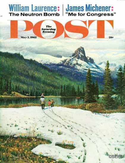 John Clymer Saturday Evening Post Spring Warms Mountains 1962_05_05   The Saturday Evening Post Graphic Art Covers 1931-1969