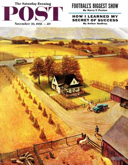 John Clymer Saturday Evening Post Thanksgiving on the Farm 1955_11_26 | The Saturday Evening Post Graphic Art Covers 1931-1969