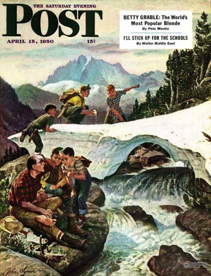John Clymer Saturday Evening Post Tired Hiker 1950_04_15   The Saturday Evening Post Graphic Art Covers 1931-1969