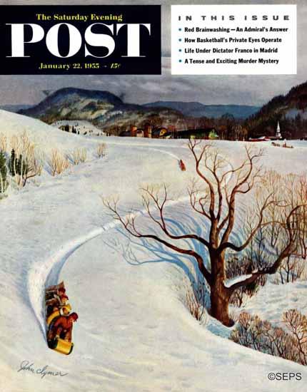 John Clymer Saturday Evening Post Tobogganing 1955_01_22   The Saturday Evening Post Graphic Art Covers 1931-1969