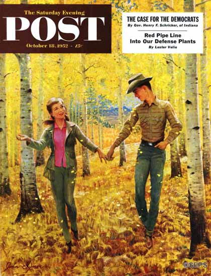 John Clymer Saturday Evening Post Walk in the Forest 1952_10_18 | The Saturday Evening Post Graphic Art Covers 1931-1969