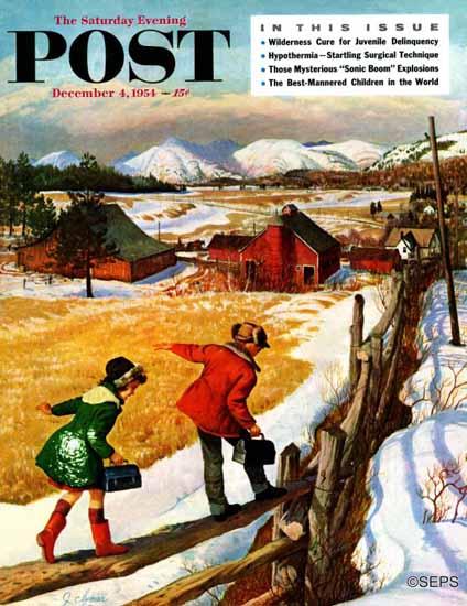 John Clymer Saturday Evening Post Walking on the Fence 1954_12_04 | The Saturday Evening Post Graphic Art Covers 1931-1969