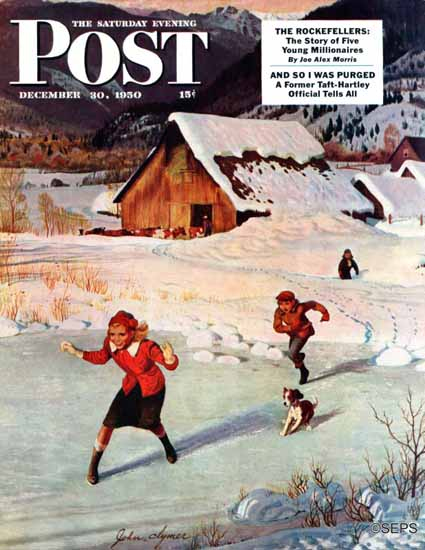 John Clymer Saturday Evening Post Winter on the Farm 1950_12_30   The Saturday Evening Post Graphic Art Covers 1931-1969