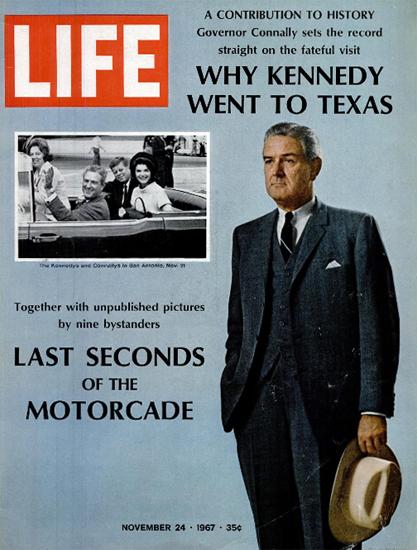 John Connally JFK in San Antonio 24 Nov 1967 Copyright Life Magazine | Life Magazine Color Photo Covers 1937-1970