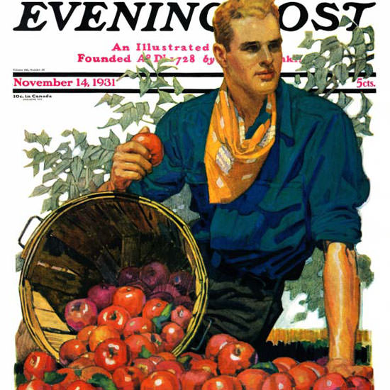 John E Sheridan Saturday Evening Post Apples 1931_11_14 Copyright crop | Best of 1930s Ad and Cover Art