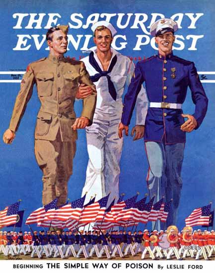 John E Sheridan Saturday Evening Post Army Navy Marines 1937_11_13 | The Saturday Evening Post Graphic Art Covers 1931-1969