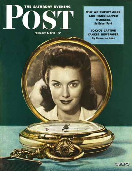 John E Sheridan Saturday Evening Post Love Pocket Watch 1943_02_06 | The Saturday Evening Post Graphic Art Covers 1931-1969