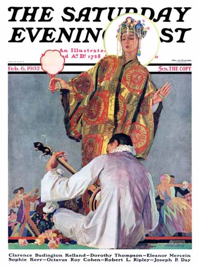 John E Sheridan Saturday Evening Post Mardi Gras Ball 1932_02_06 | The Saturday Evening Post Graphic Art Covers 1931-1969