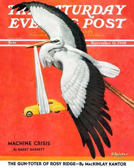 John E Sheridan Saturday Evening Post New Born Automobile 1938_11_12 | The Saturday Evening Post Graphic Art Covers 1931-1969