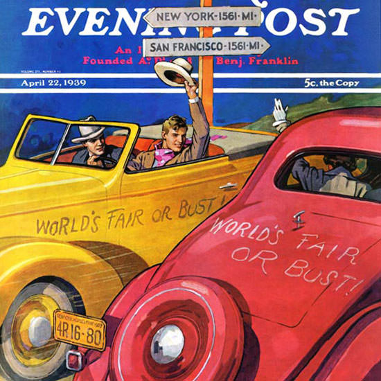 John E Sheridan Saturday Evening Post Or Bust 1939_04_22 Copyright crop | Best of Vintage Cover Art 1900-1970