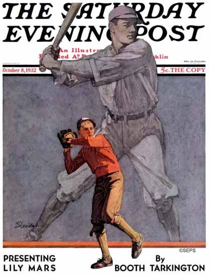 John E Sheridan Saturday Evening Post Shadow Batter 1932_10_08 | The Saturday Evening Post Graphic Art Covers 1931-1969