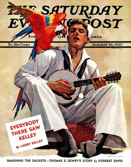 John E Sheridan Saturday Evening Post Singing Sailor Parrot 1937_10_16 | The Saturday Evening Post Graphic Art Covers 1931-1969