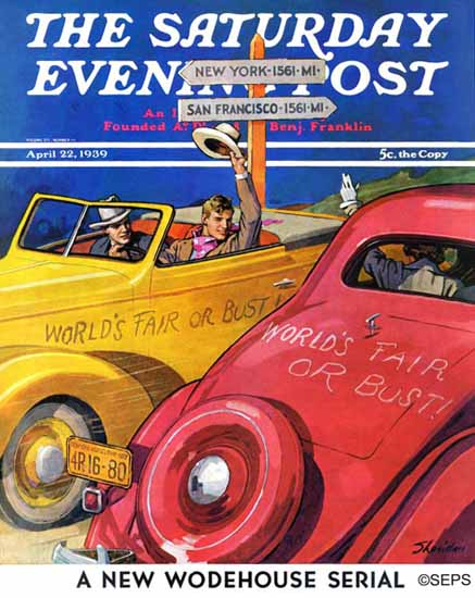 John E Sheridan Saturday Evening Post Worlds Fair or Bust 1939_04_22 | The Saturday Evening Post Graphic Art Covers 1931-1969
