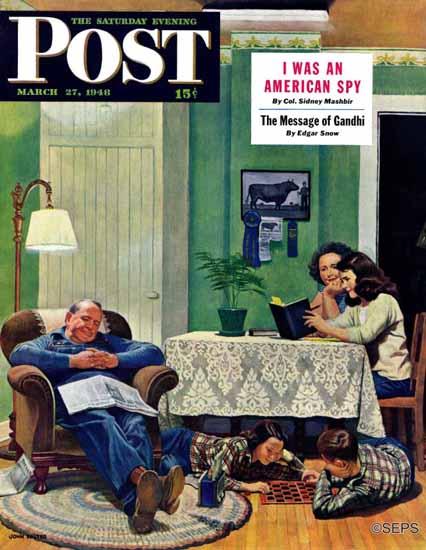 John Falter Saturday Evening Post After Dinner at the Farm 1948_03_27 | The Saturday Evening Post Graphic Art Covers 1931-1969