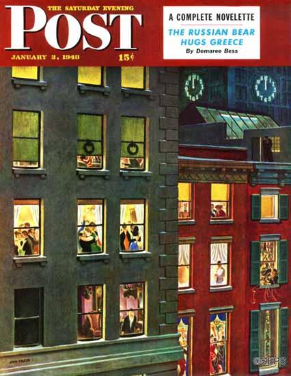 John Falter Saturday Evening Post Apartment Dwellers 1948_01_03 | The Saturday Evening Post Graphic Art Covers 1931-1969