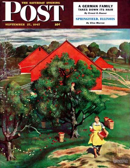 John Falter Saturday Evening Post Apple Picking Time 1947_09_27 | The Saturday Evening Post Graphic Art Covers 1931-1969