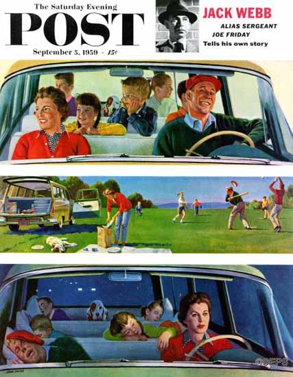 John Falter Saturday Evening Post Before During After Picnic 1959_09_05   The Saturday Evening Post Graphic Art Covers 1931-1969