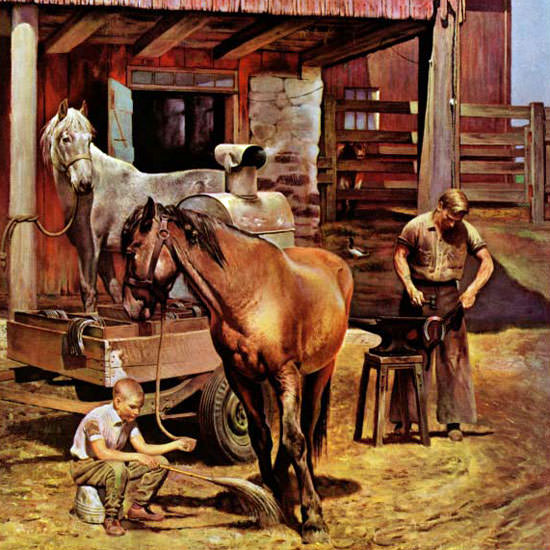 John Falter Saturday Evening Post Blacksmith 1946_07_13 Copyright crop | Best of Vintage Cover Art 1900-1970