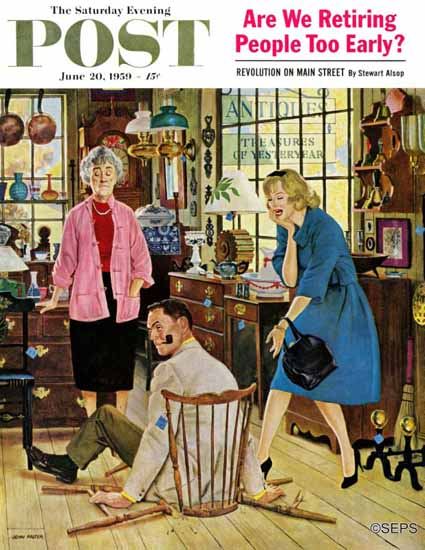 John Falter Saturday Evening Post Broken Antique Chair 1959_06_20 | The Saturday Evening Post Graphic Art Covers 1931-1969
