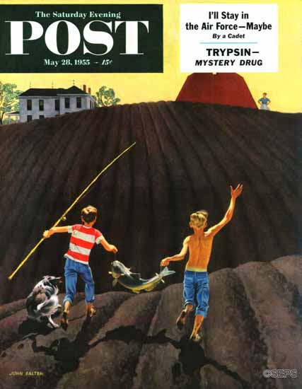 John Falter Saturday Evening Post Catfish 1955_05_28   The Saturday Evening Post Graphic Art Covers 1931-1969