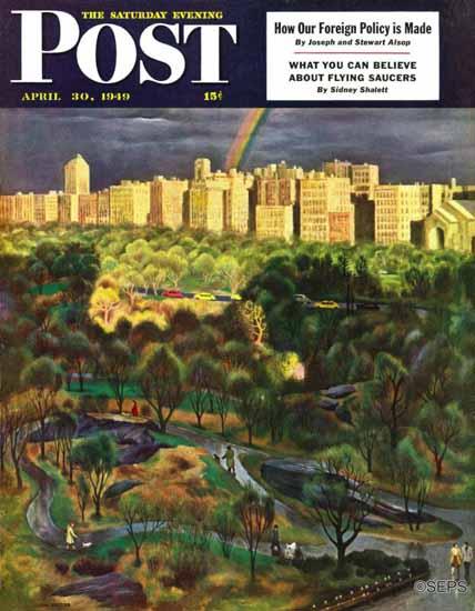 John Falter Saturday Evening Post Central Park Rainbow 1949_04_30 | The Saturday Evening Post Graphic Art Covers 1931-1969