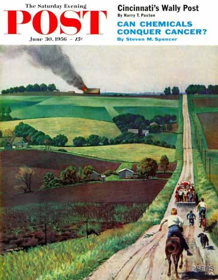 John Falter Saturday Evening Post Chasing the Fire Truck 1956_06_30 | The Saturday Evening Post Graphic Art Covers 1931-1969