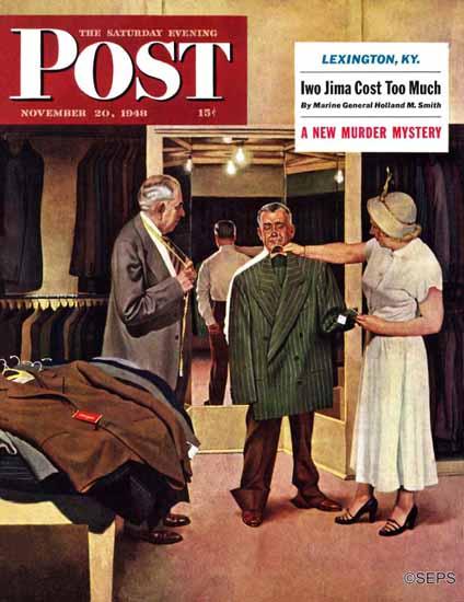 John Falter Saturday Evening Post Choosing a New Suit 1948_11_20   The Saturday Evening Post Graphic Art Covers 1931-1969