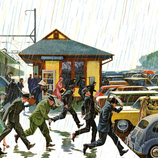 John Falter Saturday Evening Post Commuters 1961_10_07 Copyright crop | Best of Vintage Cover Art 1900-1970