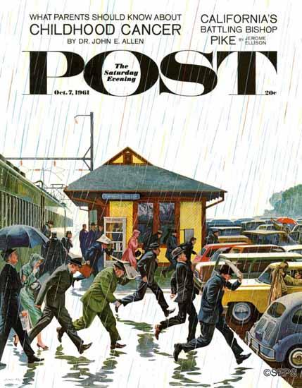John Falter Saturday Evening Post Commuters in the Rain 1961_10_07 | The Saturday Evening Post Graphic Art Covers 1931-1969