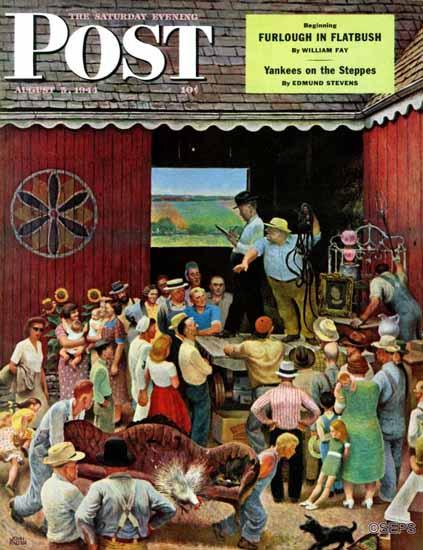 John Falter Saturday Evening Post Country Auction 1944_08_05 | The Saturday Evening Post Graphic Art Covers 1931-1969