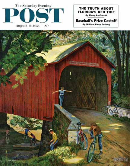 John Falter Saturday Evening Post Covered Bridge 1954_08_14 | The Saturday Evening Post Graphic Art Covers 1931-1969