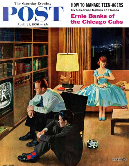 John Falter Saturday Evening Post Date with the Television 1956_04_21 | The Saturday Evening Post Graphic Art Covers 1931-1969