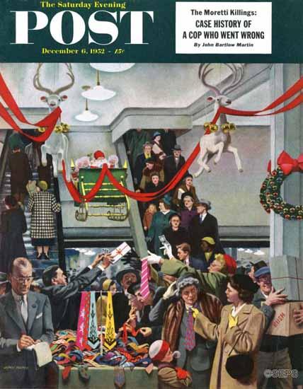 John Falter Saturday Evening Post Department Store at Xmas 1952_12_06 | The Saturday Evening Post Graphic Art Covers 1931-1969