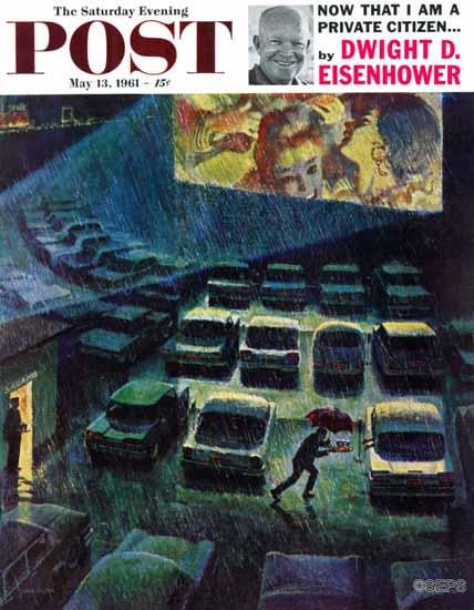 John Falter Saturday Evening Post Drive-In Movie in the Rain 1961_05_13 | The Saturday Evening Post Graphic Art Covers 1931-1969