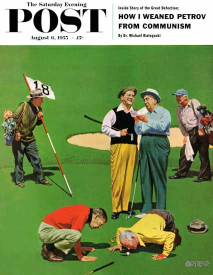 John Falter Saturday Evening Post Eighteenth Hole 1955_08_06 | The Saturday Evening Post Graphic Art Covers 1931-1969