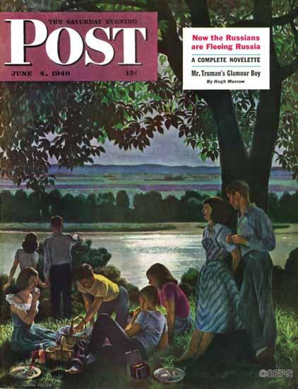 John Falter Saturday Evening Post Evening Picnic 1949_06_04 | The Saturday Evening Post Graphic Art Covers 1931-1969