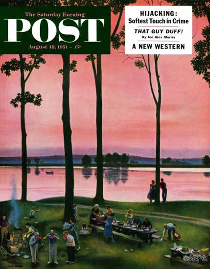 John Falter Saturday Evening Post Evening Picnic 1951_08_18 | The Saturday Evening Post Graphic Art Covers 1931-1969