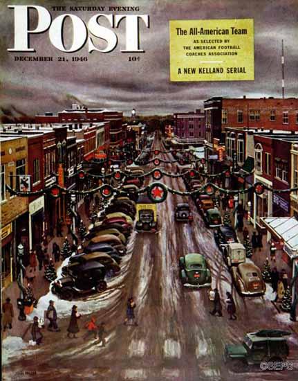John Falter Saturday Evening Post Falls City Nebraska Xmas 1946_12_21 | The Saturday Evening Post Graphic Art Covers 1931-1969
