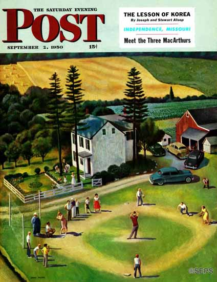 John Falter Saturday Evening Post Family Baseball 1950_09_02   The Saturday Evening Post Graphic Art Covers 1931-1969