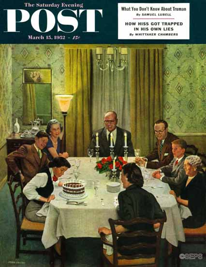 John Falter Saturday Evening Post Family Birthday Party 1952_03_15 | The Saturday Evening Post Graphic Art Covers 1931-1969