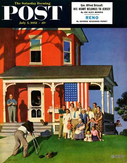 John Falter Saturday Evening Post Family Portrait on the 4th 1952_07_05 | The Saturday Evening Post Graphic Art Covers 1931-1969
