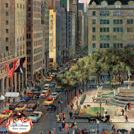 John Falter Saturday Evening Post Fifth Avenue 1960_03_19 Copyright crop | Best of Vintage Cover Art 1900-1970