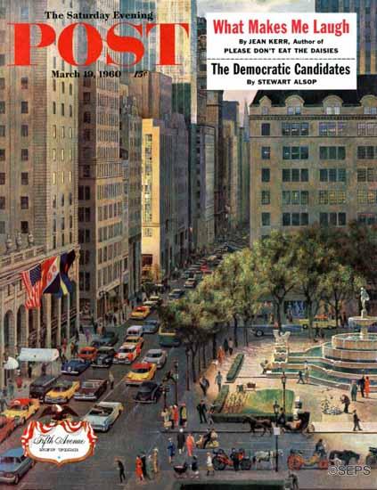 John Falter Saturday Evening Post Fifth Avenue 1960_03_19 | The Saturday Evening Post Graphic Art Covers 1931-1969