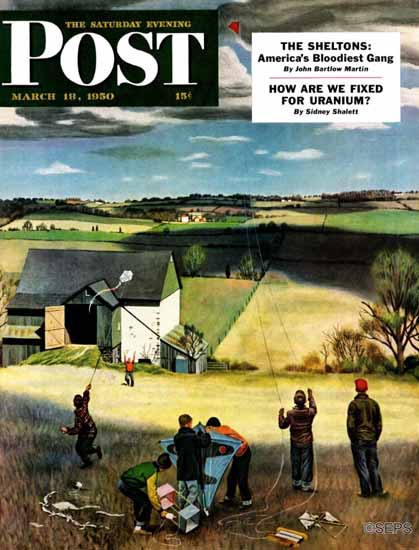 John Falter Saturday Evening Post Flying Kites 1950_03_18 | The Saturday Evening Post Graphic Art Covers 1931-1969