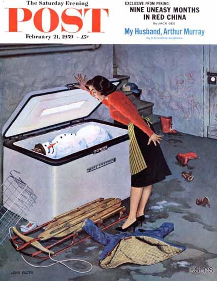 John Falter Saturday Evening Post Frosty in the Freezer 1959_02_21 | The Saturday Evening Post Graphic Art Covers 1931-1969